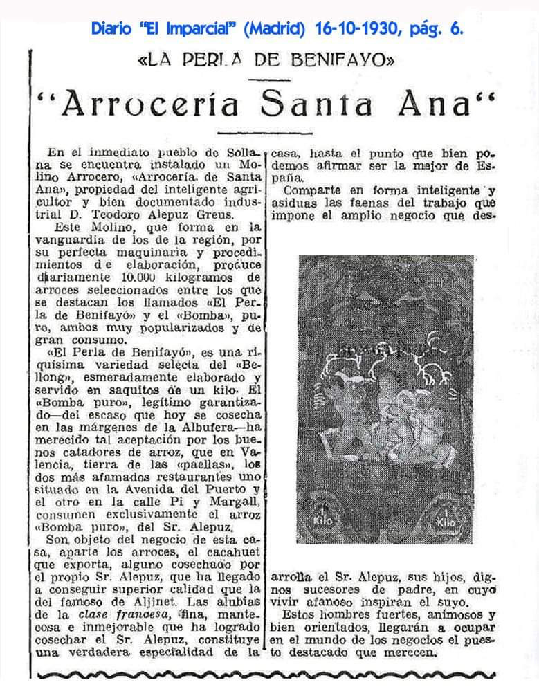 Noticia arroz de Valencia 1930